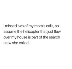 Flew: I missed two of my mom's calls, so I  assume the helicopter that just flew  over my house is part of the search  crew she called.