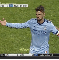 Memes, National Hockey League (NHL), and Soccer: i MLS Special Edition  CPHI 0 ANYC 2 89:57  AIRWAYS  @Soccer  NHL  STL  0 MIN 0 STL Leads series 1-0 David Villa scores an incredible goal from 50 yards away!!🔥😱@davidvilla • • • @soccerprime