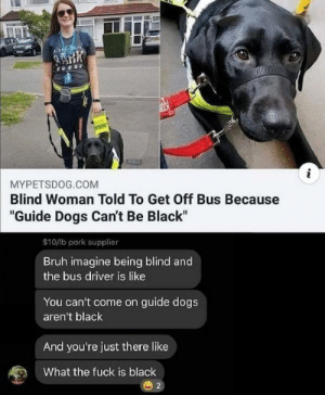 "Makes you think: i  MYPETSDOG.COM  Blind Woman Told To Get Off Bus Because  ""Guide Dogs Can't Be Black""  $10/lb pork supplier  Bruh imagine being blind and  the bus driver is like  You can't come on guide dogs  aren't black  And you're just there like  What the fuck is black  2 Makes you think"