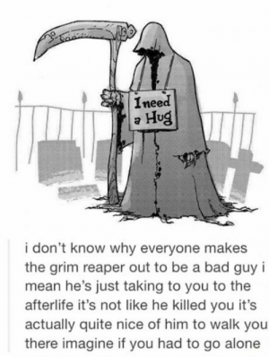 Good Guy grim reaper: I need  a Hug  i don't know why everyone makes  the grim reaper out to be a bad guy i  mean he's just taking to you to the  afterlife it's not like he killed you it's  actually quite nice of him to walk you  there imagine if you had to go alone Good Guy grim reaper