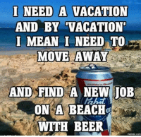 Beer, Dank, and Meme: I NEED A VACATION  AND BY TACATION.  I MEAN I NEED TO  MOVE AWAY  AND FIND A NEW JOB  ON A BEACH  BEER  WITH BEER  memes.COM