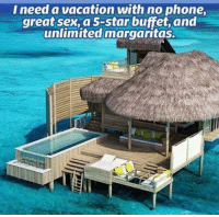 Vacation: I need a vacation with no phone,  great sex, a 5-star buffet, and  unlimited margaritas.