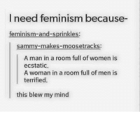 Memes, 🤖, and Sammy: I need feminism because-  feminism-and-sprinkles  Sammy-makes-moosetracks:  A man in a room full of women is  ecstatic.  A woman in a room full of men is  terrified.  this blew my mind