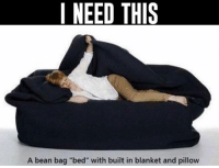 "WANT!: I NEED THIS  A bean bag ""bed"" with built in blanket and pillow WANT!"
