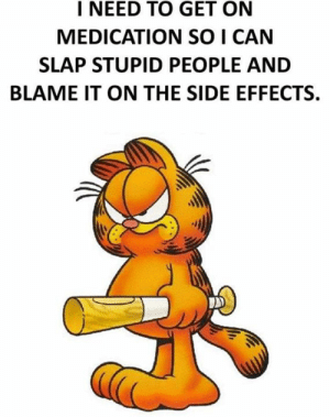 stupid people: I NEED TO GET ON  MEDICATION SO I CAN  SLAP STUPID PEOPLE AND  BLAME IT ON THE SIDE EFFECTS.