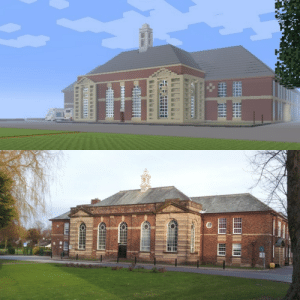 """Love, Minecraft, and School: I need ur help guys.I created my entire old school in minecraft(just need to add finishing touches)this is just one of the largest buildings there are.i built it to help the new kids learn their way around school before they join.I need pewds to say""""I love Hutton grammar school""""(for the project vid)"""