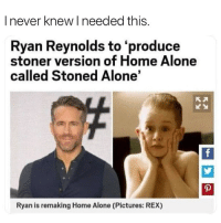 Being Alone, Home Alone, and Weed: I never knew I needed this  Ryan Reynolds to 'produce  stoner version of Home Alone  called Stoned Alone'  Ryan is remaking Home Alone (Pictures: REX) YESSSSS 😂