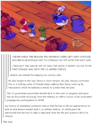 Disney, Fucking, and Life: I NEVER KNEW THE REASON THE NEPHEWS WERE LEFT WITH SCROOGE  WAS BECAUSE DONALD HAD TO LITERALLY GO OFF WITH THE NAVY LIKE  I THOUGHT THE SAILOR GET UP WAS FOR SHOW IT DIDN'T OCCUR TO ME  THAT DONALD WAS WITH THE US ARMED FORCES  #thank you donald for keeping our country safe  He also fought in the war, hence is short temper. No joke, Disney confirmed  firecrackers which he believes is mines in a mine field. No joke.  this in a fucking comic of Donald sleep walking then being woke up by  The US government promoted donald duck to the rank of sergeant and gave  him an honorable discharge from the military in 1984 in honor of his (animated  propaganda) participation in WWII  my history of animation professor told us that he had to fill out special forms to  look at and recieve donald duck's us military history, at which point he  mentioned how he had to take a step back from his life and question all of his  choices  The fuck The Donald in the Navy