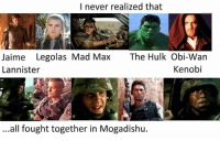 I never realized!: I never realized that  Jaime Legolas Mad Max  The Hulk Obi-Wan  Kenobi  Lannister  ...all fought together in Mogadishu. I never realized!