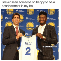 Savage meme😂: I never seen someone so happy to be a  benchwarmer in my life  KAISE  ARRIO  ARRIO  KASER  ARRIO  KASER  BELL  IG:@NBAMEMESGoat  2  ENTE Savage meme😂