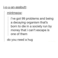 I think they need a hug: i-o-u-an-assbutt:  mintmeow:  i've got 99 problems and being  a decaying organism that's  born to die in a society run by  money that i can't escape is  one of them  do you need a hug I think they need a hug