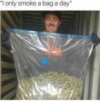 "Memes, 🤖, and Kush: ""I only smoke a bag a day"" Just a bag 🍁 Weed Marijuana kush Cannabis Ganja 420 High Stoner Smoke WeedPorn Herb InstaGood InstaDaily Dope Love Relax Chill"