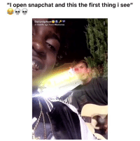 """Dude, Funny, and Lmao: """"I open snapchat and this the first thing i see""""  DarianUpNe  3 months ago from Memories Lmao dude snapped 👉🏽(via: @darianupnext)"""