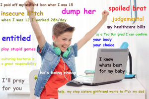 A Quick Guide to Redditing: I paid off my student loan when I was 15  spoiled brat  judgemental  dump her  insecure b tch  when I was 12 I worked 28h/day  my healthcare bills  as a Top Gun grad I can confirm  entitled  your body  your choice  play stupid games  culturing bacteria is  a great responsibility  I know  whats best  for my baby  he's being cheap  I'll pray  for you  help, my step sisters girlfriend wants to f*ck my dad A Quick Guide to Redditing