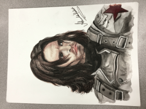 I painted Bucky for my friend. Y'all wanted more art :P I think the face is off, but she loved it anyway.: I painted Bucky for my friend. Y'all wanted more art :P I think the face is off, but she loved it anyway.