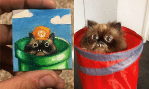 I painted the cat goomba from yesterday's front page on a tiny canvas: I painted the cat goomba from yesterday's front page on a tiny canvas
