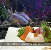 9gag, Dank, and Sushi: I picked the wrong seat at the sushi place It's like they're attending a funeral.  https://9gag.com/gag/azXqj1q?ref=fbsc