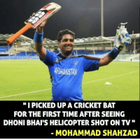 """Memes, Ups, and Inspiration: """"I PICKED UP A CRICKET BAT  DHONI BHAI'S HELICOPTER SHOT ON TV  MOHAMMAD SHAH LAD MS Dhoni - Inspiration for many (y)"""