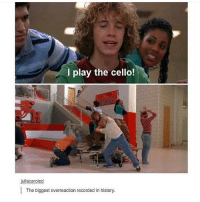 Memes, Record, and 🤖: I play the cello!  juliacaroled  The biggest overreaction recorded in history. if ur hands get really dry use a lil hair conditioner bc it works faster than lotion