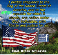 Memes, Justice for All, and 🤖: I pledge allegiance to the  flag of the United States of  America, and to the  MERICAS  republic for which  stands, one nation under  God indivisible, With  liberty and justice for all  NATION  IN  a DISTRESS  ke us on  facebook  God Bless America Good morning Patriots and God Bless!