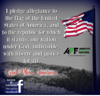 Memes, Good Morning, and Justice: I pledge allegiance to  the flag of the United  States of America. and  to the republic for which  it stands, one nation  under God, indivisible.  with liberty and justice  for all  NATION  IN  DISTRESS  like us on  facebook  AMERICAS  FIGHTERS  www.americasfreedomfghters com Good morning and God Bless!