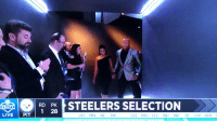 Football, Nfl, and Sports: (  I  pp STEELERS SELECTION  1 28  DRAPT  LIVE I PIT  JAX MIN NE PH  CLE NYG CLE IND IND TB CHI DEN C What a moment. https://t.co/EDbR5EBo5L