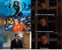 Okay, The Real, and Aquaman: I prefer the real Aquaman  I said the real Aquaman  Okay, I'm Aquaman.  Perfection We all know who is real Aquaman