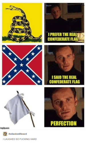 Confederate Flag, Fucking, and The Real: I PREFER THE REAL  CONFEDERATE FLAG  I  ISAID THE REAL  ★ CONFEDERATE FLAG  PERFECTION  thefandomlifenerd  I LAUGHED SO FUCKING HARD Shots fired. (Which almost at once lead to another white flag).