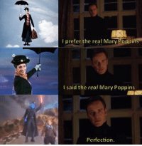Mary Poppins, The Real, and Amazing: I prefer the real Mary Poppins  I said the real Mary Poppins  Perfection <p>Amazing 😂🔝</p>