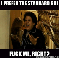 After Seeing Countless Other People's WoW GUIs...: I PREFER THE STANDARDGUI  FUCK ME, meme generator ne After Seeing Countless Other People's WoW GUIs...