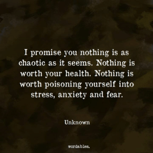 Anxiety, Fear, and Chaotic: I promise you nothing is as  chaotic as it seems. Nothing is  worth your health. Nothing is  worth poisoning yourself into  stress, anxiety and fear.  10  Unknown  wordables.