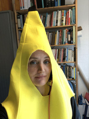 I promised to lecture as a banana if we got 20 good comments or questions. And so they did. And so I did.: I promised to lecture as a banana if we got 20 good comments or questions. And so they did. And so I did.