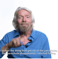Fall, Memes, and Death: I pulled the thing that got rid of the para  hute,  ling  the parachute disappeared, I started fall @richardbranson tells us about his near-death experience skydiving 😱 [watch full vid on IGTV] FindingMyVirginity