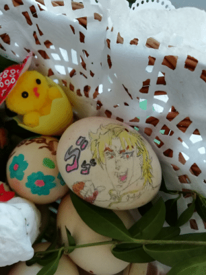 I put Dio on a easter egg, it's not really Pewdiepie related but since its JoJo week I figured I'd be forgiven. I know that there are more talented people, but it's honest work. And practicaly, since this egg was prayed upon by a priest, alongside with other food, Im pretty sure this egg is holy.: I put Dio on a easter egg, it's not really Pewdiepie related but since its JoJo week I figured I'd be forgiven. I know that there are more talented people, but it's honest work. And practicaly, since this egg was prayed upon by a priest, alongside with other food, Im pretty sure this egg is holy.