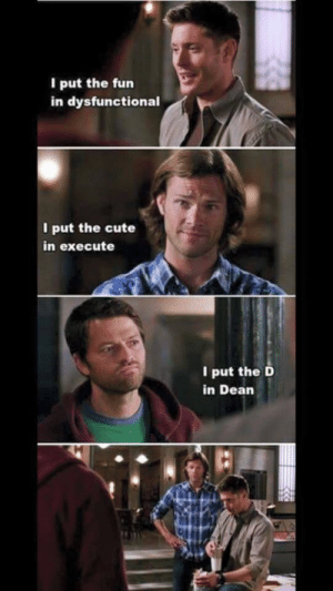 Cute, Supernatural, and Fun: I put the fun  in dysfunctional  I put the cute  in execute  I put the D  in Dean Found this on r/Supernatural