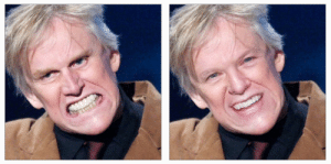 "Gary Busey, Algorithm, and New: I ran Gary Busey through Nvidia's new ""AI inpainting algorithm, this is the result"