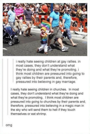 They're both rightomg-humor.tumblr.com: i really hate seeing children at gay rallies. in  most cases, they don't understand what  they're doing and what they're promoting. i  think most children are pressured into going to  gay rallies by their parents and, therefore,  pressured into believing in gay marriage.  I really hate seeing children in churches. In most  cases, they don't understand what they're doing and  what they're promoting. I think most children are  pressured into going to churches by their parents and,  therefore, pressured into believing in a magic man in  the sky who will send them to hell if they touch  themselves or eat shrimp.  omg They're both rightomg-humor.tumblr.com