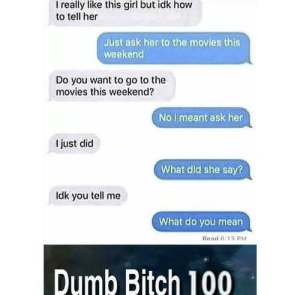 Bitch, Dank, and Dumb: I really like this girl but idk hovw  to tell her  Just ask her to the movies this  weekend  Do you want to go to the  movies this weekend?  No limeant ask her  I just did  What did she say?  ldk you tell me  What do you mean  Rearl 0:13  Dumb Bitch 100 Facepalm 🤦‍♂️ by showmethememez MORE MEMES