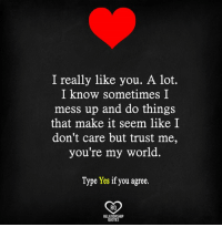i really like you: I really like you. A lot.  I know sometimes I  mess up and do things  that make it seem like I  don't care but trust me,  you're my world.  Type Yes if you agree  RO  RELATIONSHIP  QUOTES