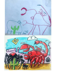 Spider, Drawings, and Scorpion: I reimagine drawings by my nephews here is a mama and baby spider vs a mama and baby scorpion
