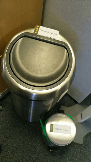 I relabeled the trash cans in the office.: I relabeled the trash cans in the office.