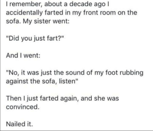 "Foot, Fart, and Sofa: I remember, about a decade ago I  accidentally farted in my front room on the  sofa. My sister went:  ""Did you just fart?""  And I went:  ""No, it was just the sound of my foot rubbing  against the sofa, listen""  Then I just farted again, and she was  convinced.  Nailed it SLPT hide your farts"