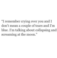 "http://iglovequotes.net/: ""I remember crying over you and I  don't mean a couple of tears and I'm  blue. I'm talking about collapsing and  screaming at the moon."" http://iglovequotes.net/"