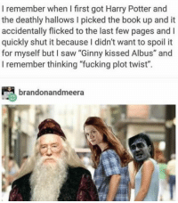 "deathly hallows: I remember when I first got Harry Potter and  the deathly hallows I picked the book up and it  accidentally flicked to the last few pages and I  quickly shut it because I didn't want to spoil it  for myself but I saw ""Ginny kissed Albus"" and  I remember thinking ""fucking plot twist"".  brandonandmeera"