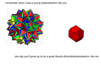 Family, Grow, and One: I remember when I was a young dodecahedron like you.  one day you'll grow up to be a great disnub dirhombidodecahedron, like me polyhedral family https://t.co/Rvd2e4nFnv