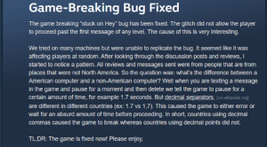 I reported a bug for a game that came out yesterday, the cause had me laughing so hard: I reported a bug for a game that came out yesterday, the cause had me laughing so hard
