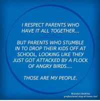 respect: I RESPECT PARENTS WHO  HAVE IT ALL TOGETHER  BUT PARENTS WHO STUMBLE  IN TO DROP THEIR KIDS OFF AT  SCHOOL, LOOKING LIKE THEY  JUST GOT ATTACKED BY A FLOCK  OF ANGRY BIRDS.  THOSE ARE MY PEOPLE.  Brandon Andrina  professional stay at home dad