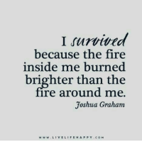 https://t.co/Khglgyxi7p: I rurvived  because the fire  inside me burned.  brighter than the  ire around me.  Joshua Graham  w w w VE LIFE H A P P Y c o M https://t.co/Khglgyxi7p