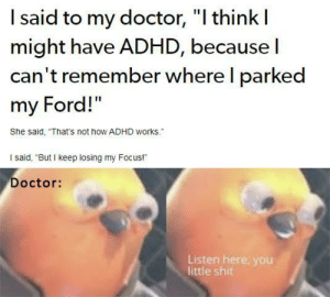 "awesomesthesia:  Hey Doc, I'm losing my focus.: I said to my doctor, ""I think I  might have ADHD, because I  can't remember where I parked  my Ford!""  She said, ""That's not how ADHD works.""  I said, ""But I keep losing my Focus!  Doctor:  Listen here, you  little shit awesomesthesia:  Hey Doc, I'm losing my focus."