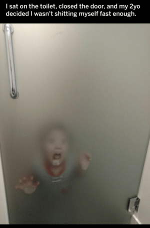 sat: I sat on the toilet, closed the door, and my 2yo  decided I wasn't shitting myself fast enough.
